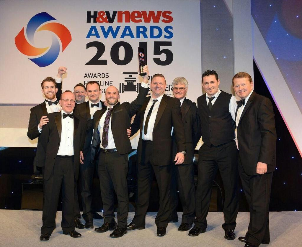 Endo team collecting product of the year at H&V News Awards
